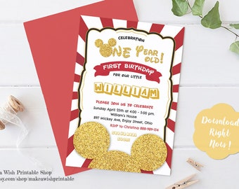 Mickey Mouse Birthday Invitation, Mickey Mouse 1st Birthday Invitation, Mickey Mouse First Birthday Invitation Digital, Red and Gold Glitter