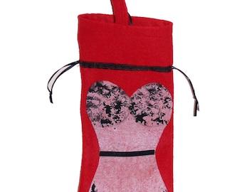 Wine Bottle Gift Bag-Red/blk