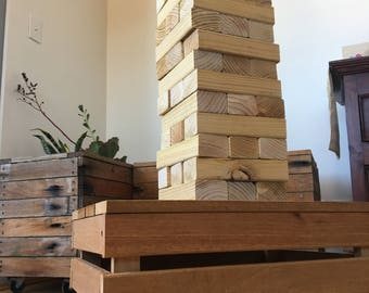 Giant Jenga with Easy-to-Carry Wooden Box & Stand