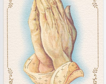 Vintage 1960s Christmas card with praying hands, by Carrington