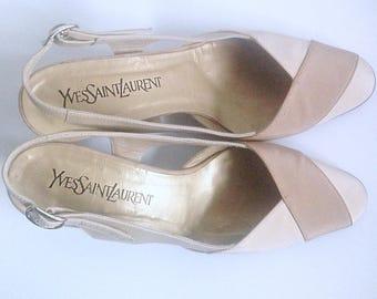 Vintage Yves Saint Laurent  Pink Satin  Beige Leather Classic Chic Slingback pumps shoes YSL women  eu 38