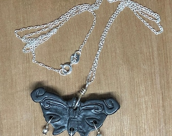 """Black Serpentine Butterfly Pendant on 18"""" Sterling Silver Necklace"""