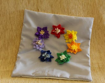 Small cushion cover with chakra/rainbow handmade lotus flowers