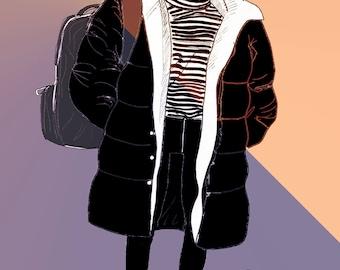cute fashion illustration girl