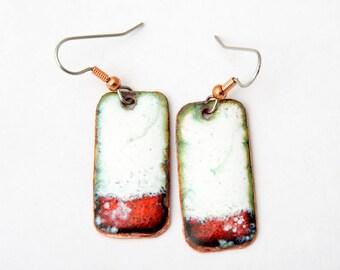 Modern Enamel Jewelry Red White Enamel Earrings  Copper enamel jewelry Free shipping