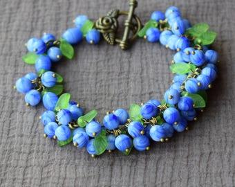 Blueberries bracelet Handmade Sweet Spring bracelet Berries bracelet Romantic Blue bracelet Bunch Beads Elven jewellery Leaf Vintage Gift