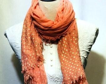 Orange designer scarf | summer collection |light weight |handwoven
