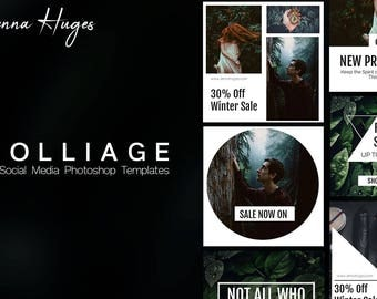 Social Media Template Pack | Folliage | 6 Square Photoshop Templates