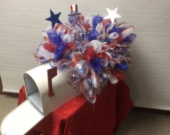 Patriotic maibox topper,  Patriotic Tombstone topper, Red, white and blue 4th of july or Memorial topper