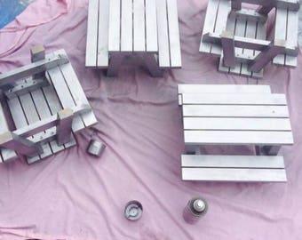 Small picnic benches