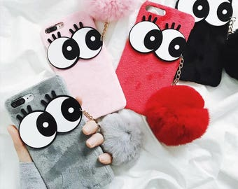 Handmade case for Iphone with Cartoon eyes