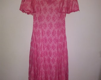 Full Length Evening Gown, Ann's Vogue Shoppe, Pink Lace Overlay Evening Gown, Party Dress, 1960's Evening Gown