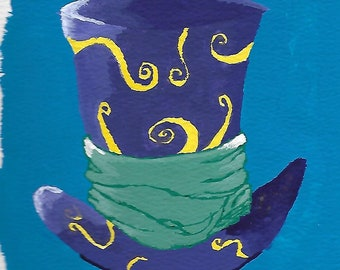 Alice in Wonderland - The Mad Hatters Hat, Painted Gouache.