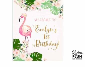 Flamingo Welcome Sign / Tropical Welcome Sign / Flamingo Welcome Sign / Tropical Birthday Sign / Luau Floral Aloha Pink Green FG01