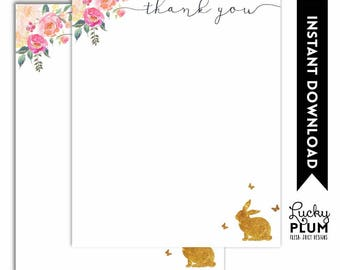 Bunny Thank You Card / Rabbit Thank You Card / Woodland Pink Gold Flower Floral / Digital Printable RB01