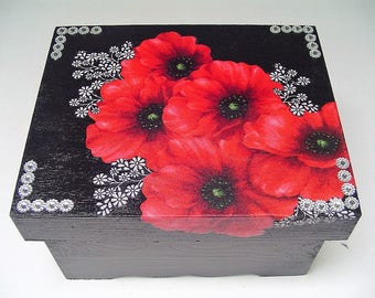 Red poppies jewelry box, fabric decoupage, black and white flowers, dresser decor, beaded, separate lid
