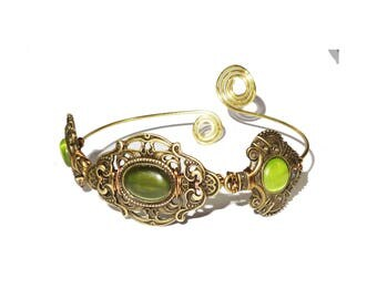 Green bohemian brass upper arm bracelet