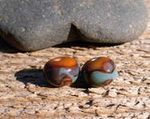 Lampworked Bead Pair - Chocolate Brown and Blues