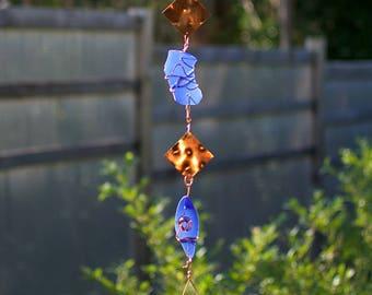 Wind Chime Blue Sea Glass Copper Outdoor Windchimes