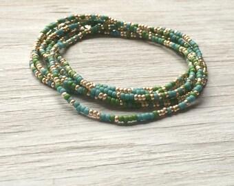 Seed bead necklace, long beaded necklace, multi strand bracelet, multi wrap bracelet
