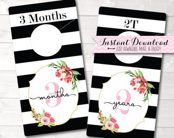 Baby Closet Dividers Printable Tag Girl Nursery Decor Organizer Shabby
