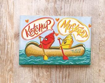 Ketchup Mustard Kitchen Magnet Fun Refrigerator Magnet fridge magnet funny hot dog funny kitchen decor white elephant gift - ketchup gift