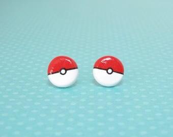 Pokemon Pokeball Clay Sterling Silver Post Earrings