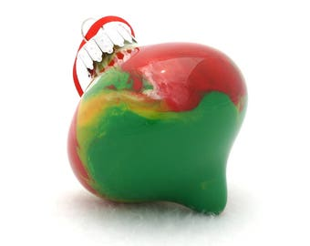 """Hand Painted Christmas Ornaments - 2 3/4"""" Glass Ornament Onion Top Teardrop Painted Inside in Xmas Colors"""