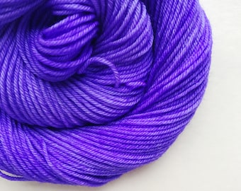 ULTRA VIOLET hand dyed yarn fingering sock dk bulky yarn super wash merino wool yarn single or ply. choose your base. violet purple yarn