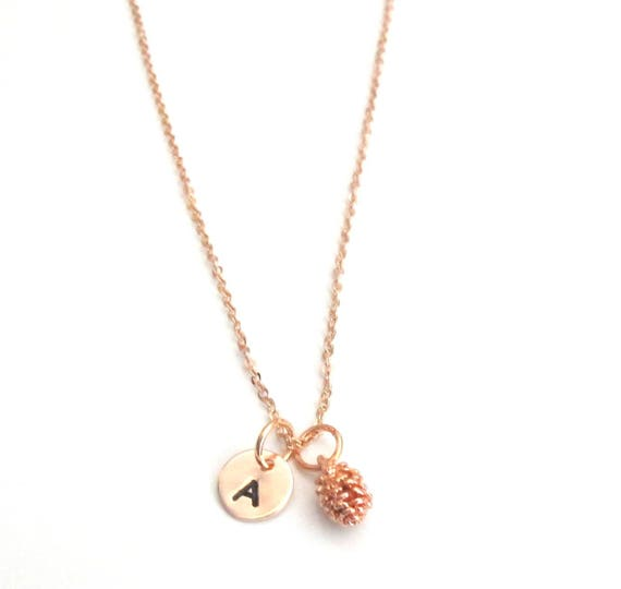 Rose gold Pinecone necklace,Pine cone Pendant Initial Necklace,Winter Jewelry,Christmas Gift,Spiritual Gift,Love Nature, Free Shipping USA