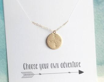 Compass Necklace, Adventurer Necklace, Gold Compass Pendant, Graduation Gift, Long Distance Best Friend, Study Abroad Gift, Traveler Gift