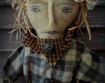 MUSTARD SEED ORIGINALS, Scarecrow, Miniature, Fall, Harvest, Autumn, Halloween, Doll by Sharon Stevens