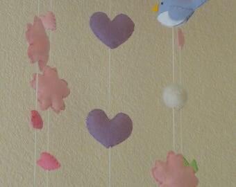 Baby Crib Mobile, Baby Nursery Mobile, Felt Little Birdie and Sakura Cherry Blossom Mobile, Felt Baby Gift, USA