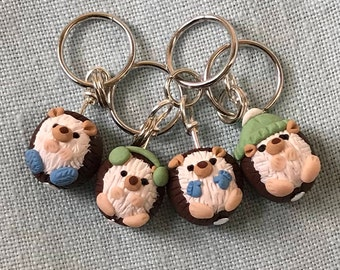 Winter Hedgehog Stitch Markers, Prickle of 4, Handmade Polymer Clay Stitch Markers Knitting accessories Knitting Tool