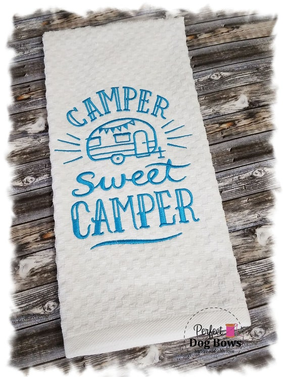 Kitchen Towel, Waffle Weave, Camper Decor, RV Decor, Kitchen Towels, Kitchen Decor, Camper Sweet Camper
