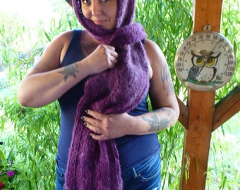 Handknit/Handspun  Scarf in Dark Purple Alpaca Merino Wool and Angora