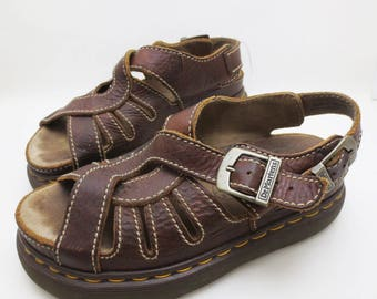 Vintage Dr Martens Sandals UK Size 7 Brown Leather Platform Thick Sole Made in England 90s US Mens Size 8 Womens 9
