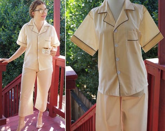 GOODNIGHT 1960's 70's Unisex Vintage Light Beige Tan Pajama Set w/ Shirt and Pants // size Small Med // Petite Short // by PARTNER