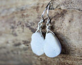 White stone earrings, druzy agate sterling silver earrings jewelry teardrop, bridal earrings, wedding earrings