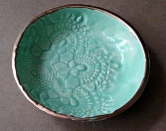 Ceramic Ring Bowl Trinket bowl MINT Gold edged