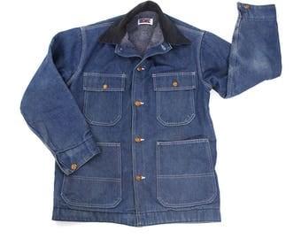 "70s Big Mac Blanket Lined Denim Jacket / Vintage 1970s Trucker Jacket with Lining / Corduroy Collar / Barn Coat Jean Jacket 42"" Chest"