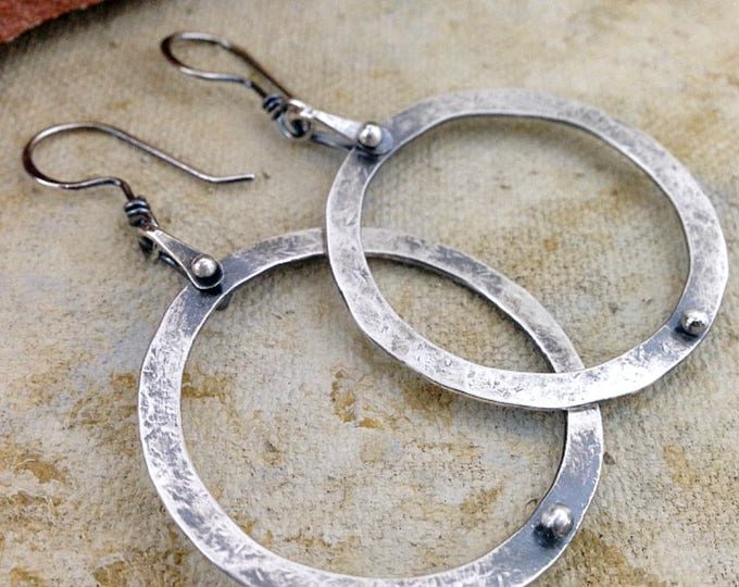 Featured listing image: Large Sterling Silver Stirrup Hoops with Silver Dot