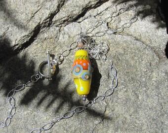 Yellow lampwork pendant necklace - Lisa New Design Artisan jewelry- Boho jewelry