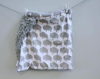 Lovey Blanket grey buffalo bison faux fur minky READY TO SHIP baby gift cloud blanket llama newborn gift plush photo prop toddler child