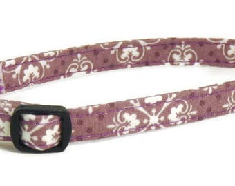 XS Dog Collar - Mauve Damask - Extra Small, Teacup, Miniature - Cute, Pretty and Fancy