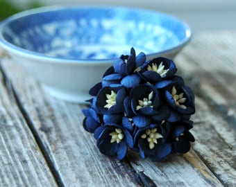 10 pcs . Navy Blue Cherry Blossoms . Small Paper Flowers Wedding Paper Flowers . Mulberry Millinery Flowers . Boutonniere Corsage Flowers