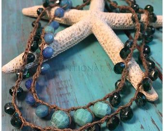 Boho Jewelry, Crochet Necklace, Crochet Bracelet, Wrap Bracelet, Czech Mix and Sterling Silver Crochet Bracelet5x/Necklace