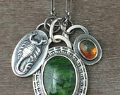 Chrome Diopside charm necklace - moss agate necklace - scorpion charm necklace - scorpio zodiac necklace - zodiac charm - unique necklace