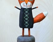 Red Fox Halloween Folk Art Doll Hand-Painted Wooden Sculpture Original OOAK