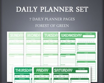 Daily Planner, Printable Daily Planner, Meal Planner, Day Planner, Daily Schedule, To Do List, Weekly Planner, Forest Green